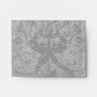 faux lace black gray damask pattern envelope