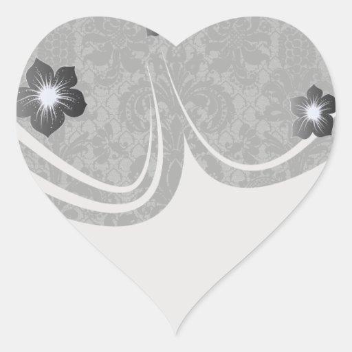 faux lace black gray damask pattern heart sticker