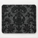 faux lace black gray damask pattern mousepad