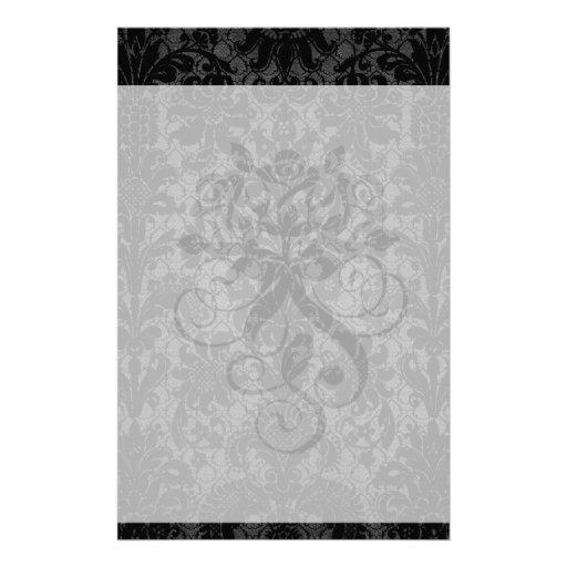 faux lace black gray damask pattern stationery design