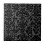 faux lace black gray damask pattern tile