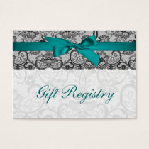 Faux lace  ribbon aqua, black  gift registry cards