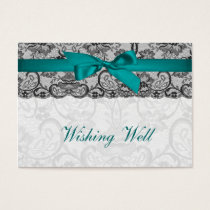 Faux lace  ribbon aqua, black   wishing well cards
