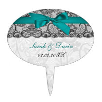Faux lace ribbon aqua  personalized cake picks