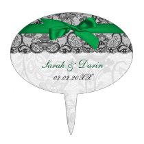 Faux lace ribbon emerald green cake picks
