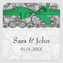 Faux lace ribbon emerald green envelope seals