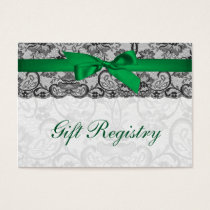 Faux lace ribbon emerald green gift registry cards