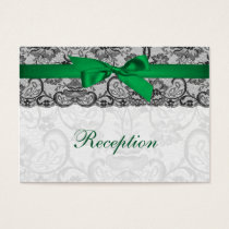 Faux lace ribbon emerald green reception cards