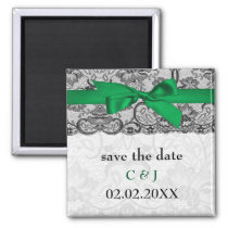 Faux lace ribbon emerald green save the date magnet