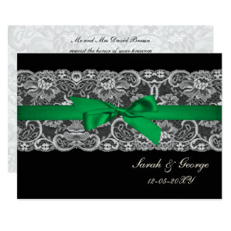 Faux Lace Ribbon Emerald Green Wedding Invites