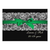 Faux lace ribbon emerald green  wedding Thank You Card