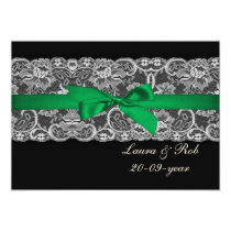 Faux lace ribbon emerald green  wedding Thank You Card