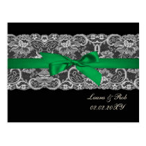 Faux lace ribbon emerald green  wedding Thank You Postcard