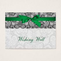 Faux lace ribbon emerald green  wishing well cards