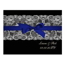 Faux lace  ribbon navy blue wedding Thank You Postcard