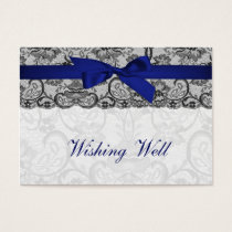 Faux lace  ribbon navy blue  wishing well cards