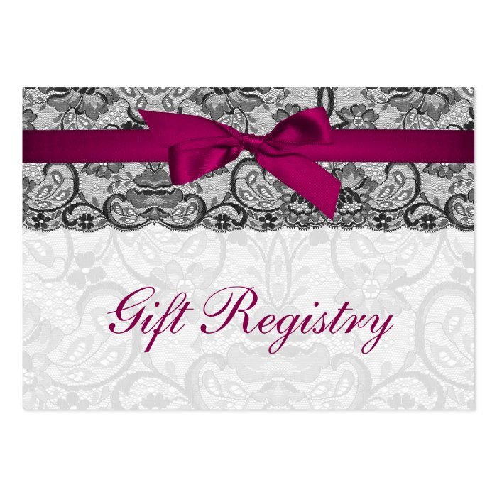 Faux lace  ribbon pink, black  gift registry cards