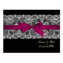 Faux lace  ribbon pink ,black  wedding Thank You Postcard