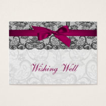 Faux lace  ribbon pink, black   wishing well cards