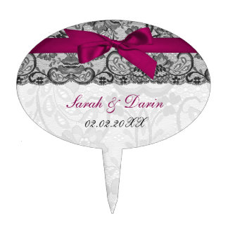 Faux lace ribbon pink  personalized cake picks