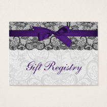 Faux lace ribbon purple black gift registry cards