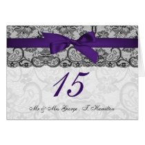 Faux lace ribbon purple black table number cards