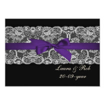Faux lace ribbon purple black wedding Thank You Card