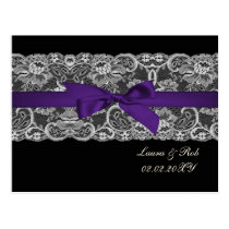 Faux lace  ribbon purple black wedding Thank You Postcard