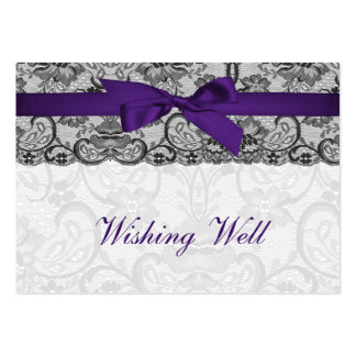 Faux lace ribbon purple black wishing well cards business card templates