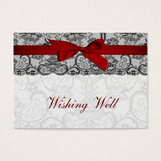 Faux lace  ribbon red, black   wishing well cards