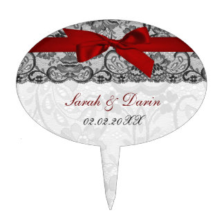 Faux lace ribbon red  personalized cake picks