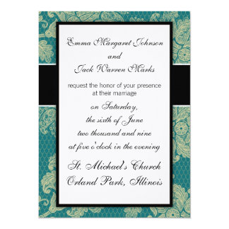 faux lace teal and cream floral damask invite
