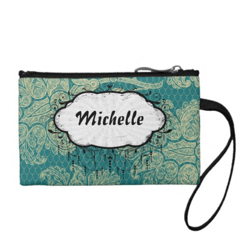 faux lace teal and cream floral damask pattern coin wallets