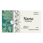 faux lace teal and cream floral damask pattern business card template