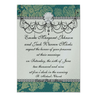 faux lace teal and cream floral damask pattern card