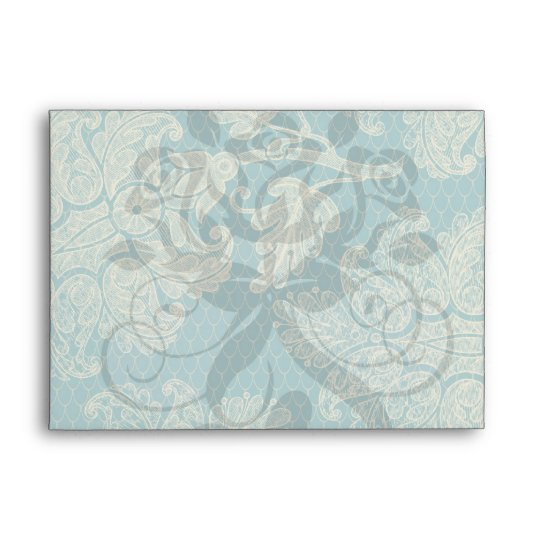 faux lace teal and cream floral damask pattern envelope
