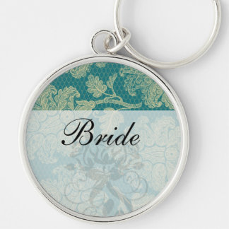 faux lace teal and cream floral damask pattern key chain
