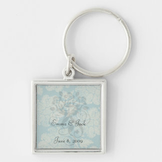 faux lace teal and cream floral damask pattern keychain