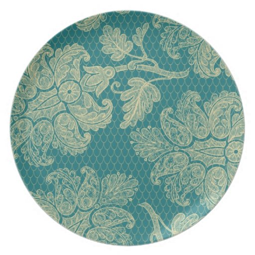 faux lace teal and cream floral damask pattern plate
