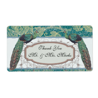 faux lace teal and cream floral damask peacocks shipping labels