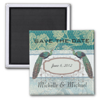 faux lace teal and cream floral damask peacocks refrigerator magnet