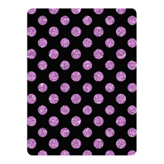 Faux Lavender Glitter Polka Dots Pattern on Black Personalized Announcement Cards