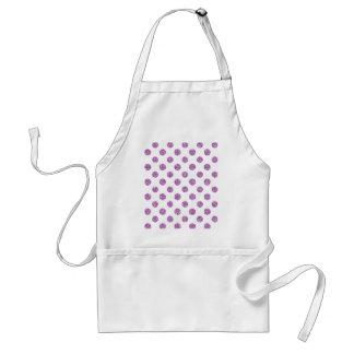 Faux Lavender Glitter Polka Dots Pattern on White Aprons