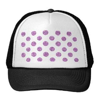 Faux Lavender Glitter Polka Dots Pattern on White Trucker Hats