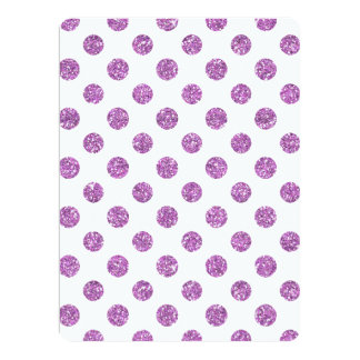 Faux Lavender Glitter Polka Dots Pattern on White Personalized Invitation Cards