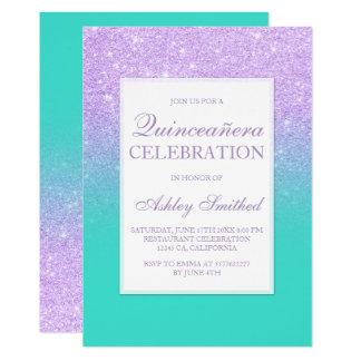 Faux lavender glitter turquoise chic Quinceañera Card