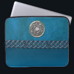 "Faux Leather and Metal Celtic Knot Laptop Sleeve<br><div class=""desc"">Faux Leather and Metal Celtic Knot Laptop Sleeve. Cyan blue leather like sleeve with a silver Celtic Knot and a blue Celtic chain. Celtic knots are a traditional Celtic art form, are usually characterized by having no beginning and no end, and symbolize eternal love and the never-ending cycle of life....</div>"