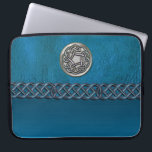 """Faux Leather and Metal Celtic Knot Laptop Sleeve<br><div class=""""desc"""">Faux Leather and Metal Celtic Knot Laptop Sleeve. Cyan blue leather like sleeve with a silver Celtic Knot and a blue Celtic chain. Celtic knots are a traditional Celtic art form, are usually characterized by having no beginning and no end, and symbolize eternal love and the never-ending cycle of life....</div>"""