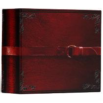 Faux Leather & Belt Blood Red Binder