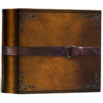 Faux Leather & Belt Brown Leather Binder
